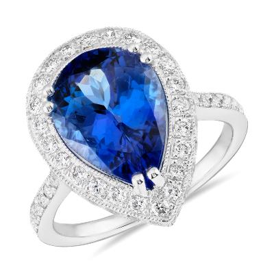 tanzanite diamond cocktail ring 18k white gold tanzanite wedding rings Pear Shaped Tanzanite and Diamond Cocktail Ring in 18k White Gold 4 38 ct