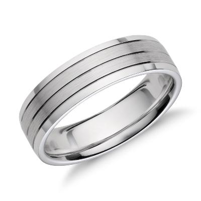 trio inlay 14k gold wedding band trio wedding rings Trio Inlay Wedding Ring in 14k White Gold 6mm