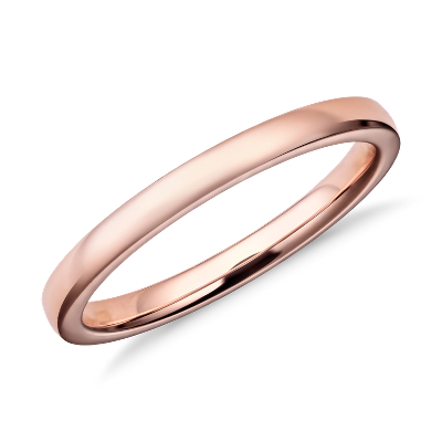 wedding ring rose gold rose gold wedding rings Low Dome Comfort Fit Wedding Ring in 14k Rose Gold 2mm