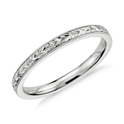 white gold wedding ring white gold wedding bands Hand Engraved Wedding Ring in 14k White Gold
