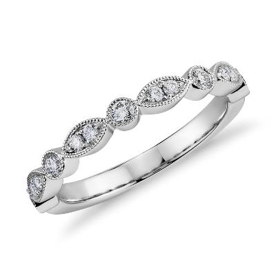 diamond spiderman wedding ring Milgrain Marquise and Dot Diamond Ring in 14k White Gold 1 5 ct tw