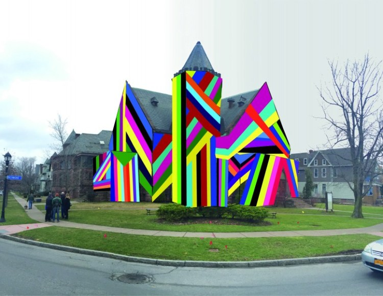 "Amanda Browder's ""Spectral Locus,"" a public art project involving huge sheets of colored fabric, will temporarily transform the former church at Richmond Avenue and West Ferry later this summer."