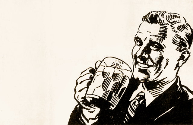 Bloke drinking beer.