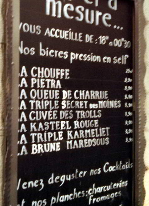 Au Fut et a Mesure, Nice: beer list, summer 2015.