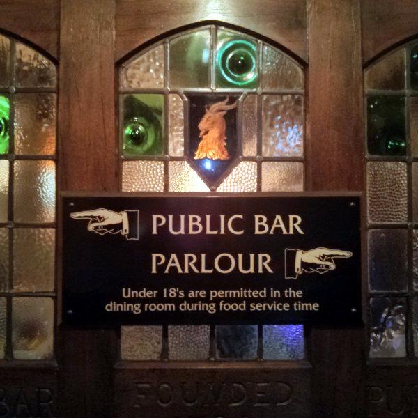 Sign: Public Bar, Parlour.