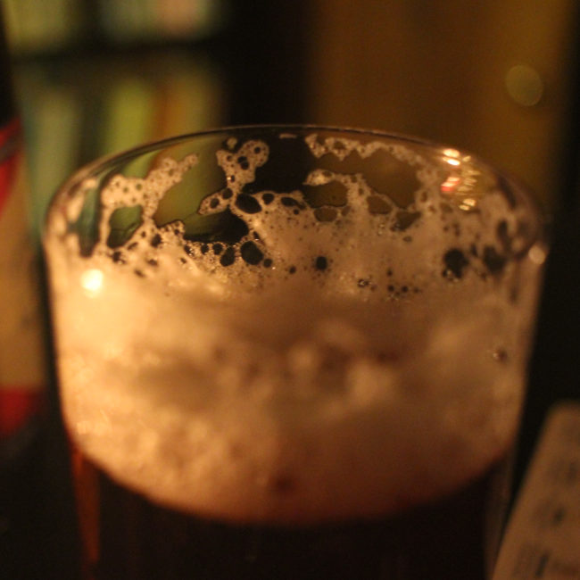 Brewery Yard in the glass: beer foam.
