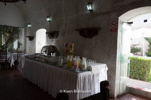 Breakfast buffet in the Hotel San Agustin in Arequipa