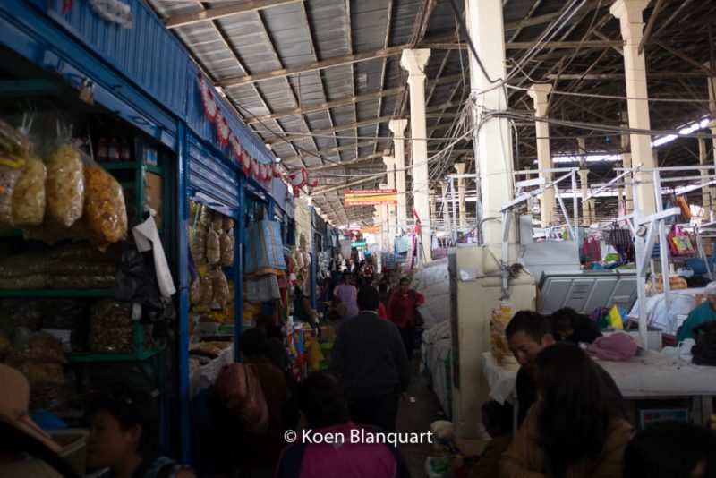 The small aisles the San Pedro Market in Cusco