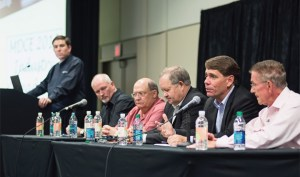 Boating Industry Editor-in-Chief Jonathan Sweet moderates a panel including (from left) Rick Correll, Bob Menne, Mark Schwabero, Ron Huibers and Bill McGill.