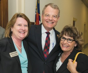 Joan Maxwell of Regulator Marine (left) and Kris  Carroll of Grady-White (right) after their Hill visit with Rep. Mike McIntyre, R-N.C., at ABC 2013.