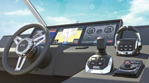 Co-developed with Garmin, Volvo Penta's Glass Cockpit presents a clean interface that eliminates the need for  most buttons and switches. It has won several awards, including an NMMA Innovation Award at the Miami International Boat Show.