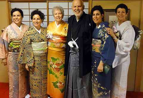 Kimono-clad and uneasy, an hour after the earthquake.