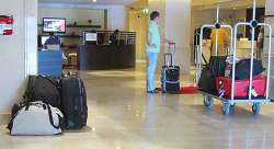 Luggage left in hotel lobby