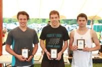 Bobcat Bolt 10K Winners, Wesley Dinnan 1st (center) Spencer Sass 2nd (left) Ben Finnigan 3rd (right)