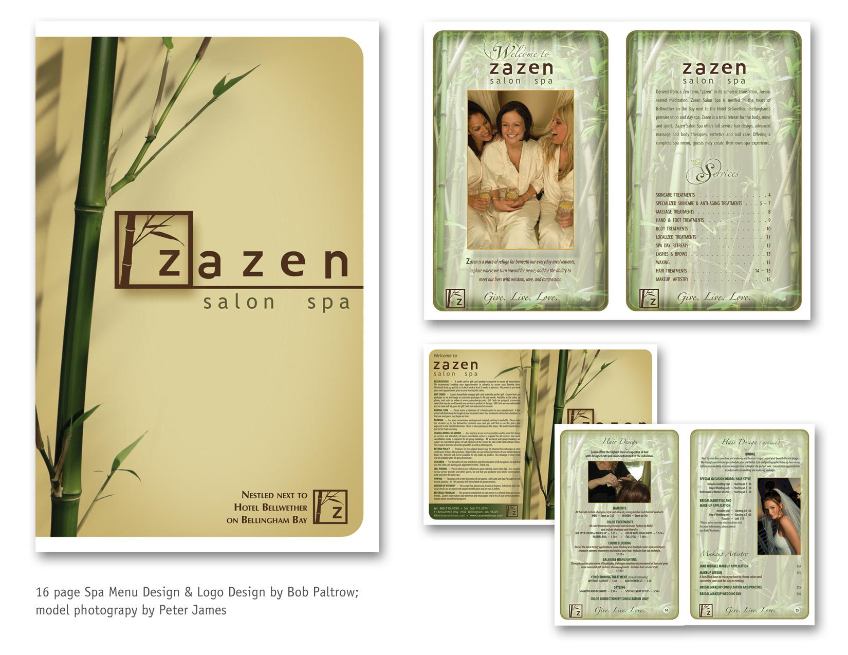 MENU DESIGN - ZaZen Salon and Spa, Bellingham WA