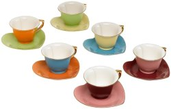 Creative Satin Inside Out Heart Designa Classic Coffee Tea Cups Set Colors A Gift Box This Six Person Set Is A Gift Packaged