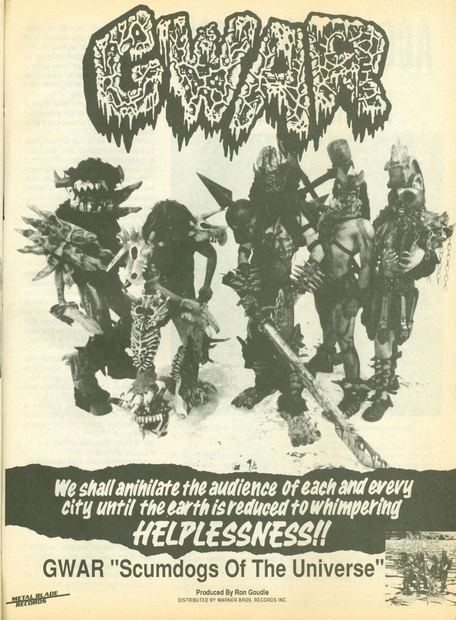 An ad for GWAR from Thrash Metal zine, (US) November, 1990