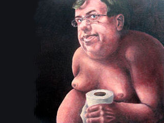 Unauthorized portrait of Irish PM Brian Cowen hung in Irish National Gallery, 2009