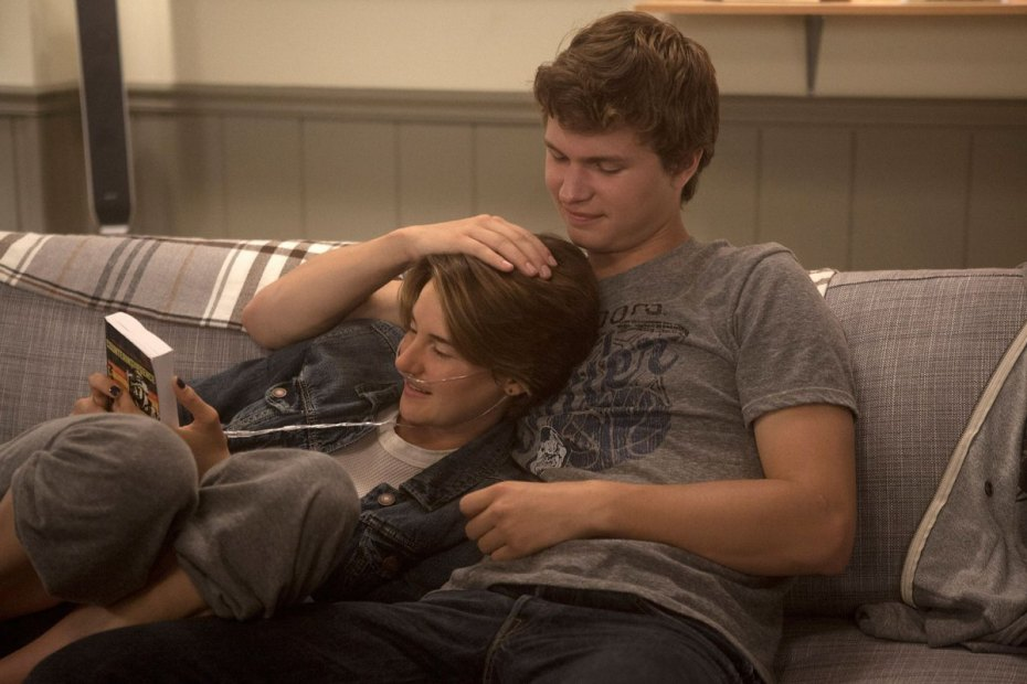 "From ""The Fault in our Stars."" Hazel (Shailene Woodley) and Gus (Ansel Elgort) are two extraordinary teenagers who share an acerbic wit, a disdain for the conventional, and love."