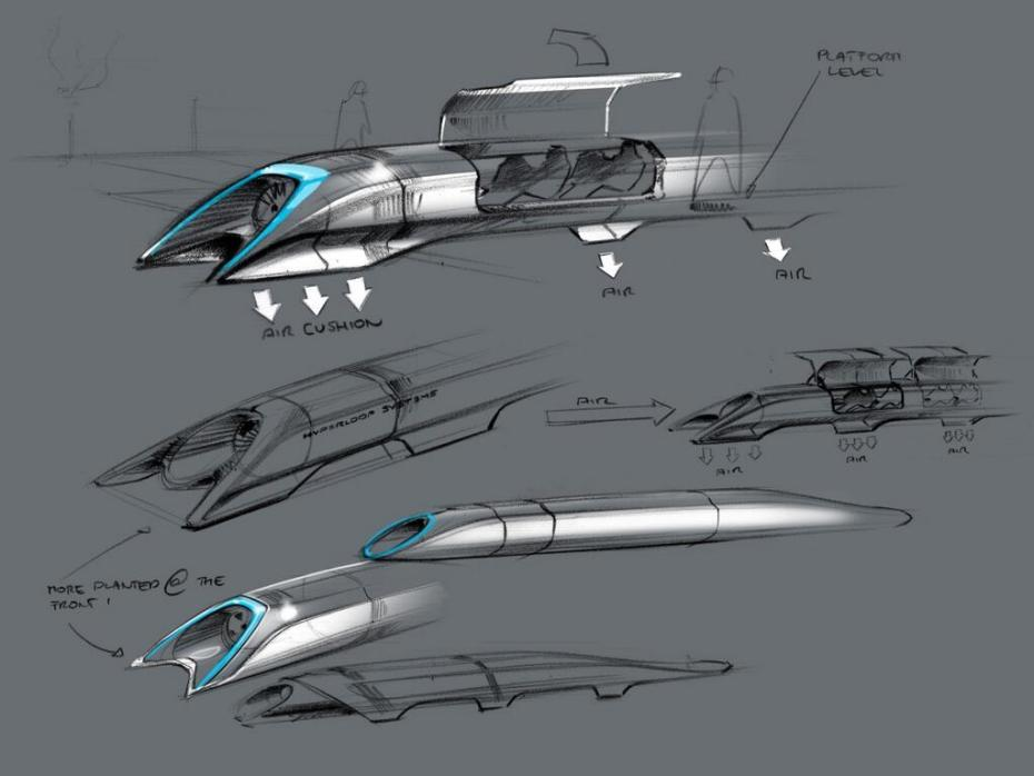 An initial diagram for the Hyperloop. [SpaceX]