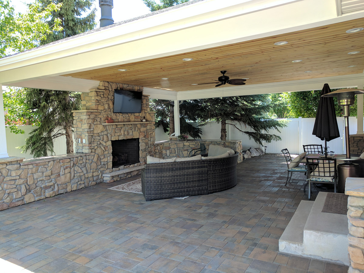Pleasing By Creating A Covered Patio A Outdoor Sehomeowners Can Enjoy Irfriends Ogden Covered Patio Any Wear All Fireplace Tv Makes Backyard outdoor Patio In Backyard