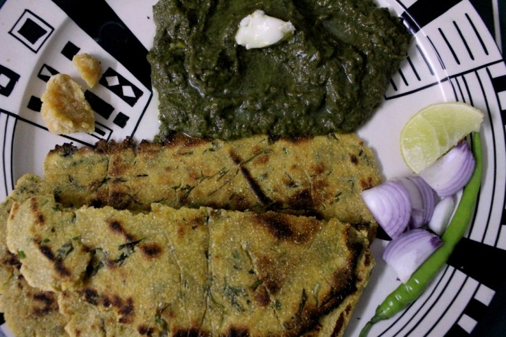 Makkai ki roti, sarson ka saag, gud aur piyaz. That has to be the point of winter