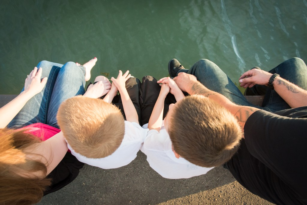 aerial family engagement session shot