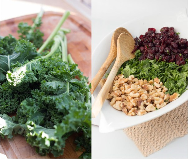 Cranberries-Walnuts kale salad with goat cheese dressing