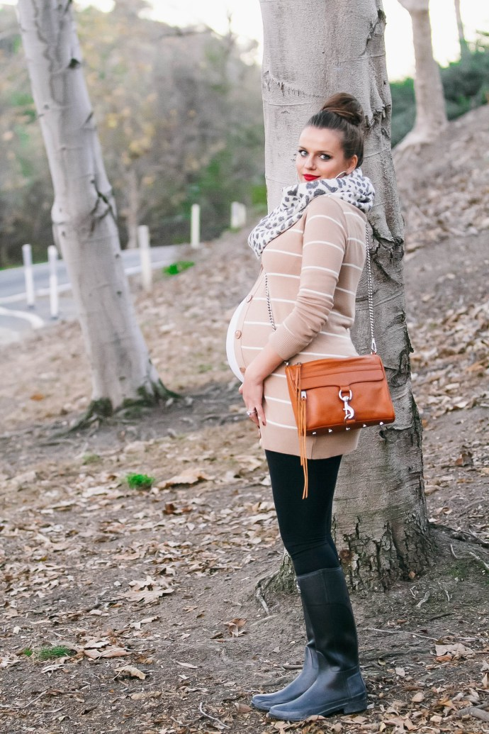 Bumpstyle Striped Cardigan Hunter Boots
