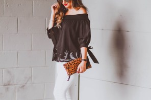 #OOTD // Black Off-the-Shoulder Cutout Top & White Skinny Jeans