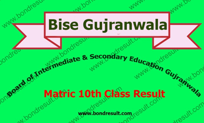 BISE Gujranwala Board 10th Class Result 2016
