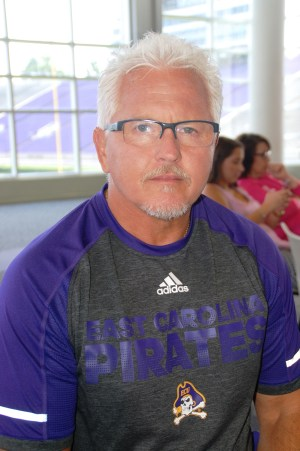 ECU strength and conditioning coach Jeff Connors at the Pirates' media day on Aug. 6, 2016 (photo by Al Myatt)