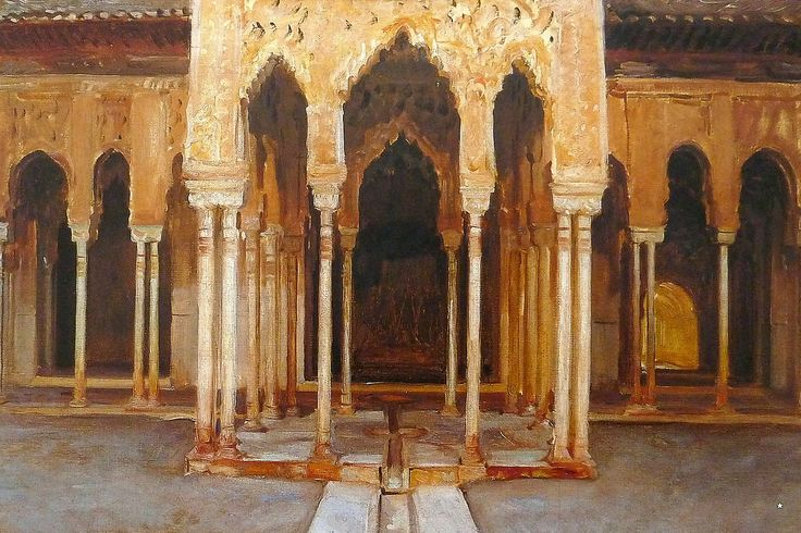 John Singer Sargent painting of the Lion Courtyard in the Alhambra in Granada Spain