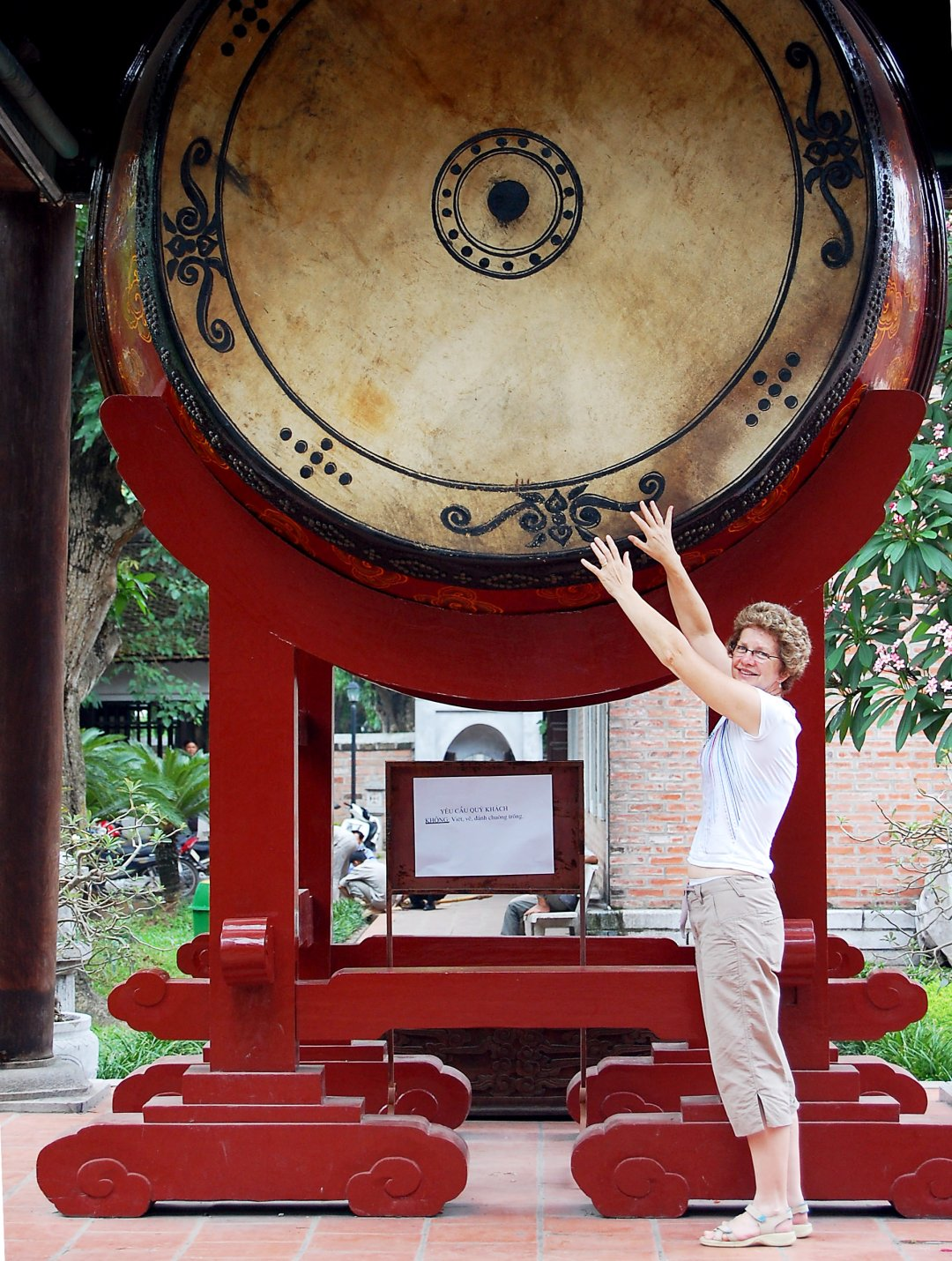 Drum in the Temple of Literature in Hanoi in Vietnam