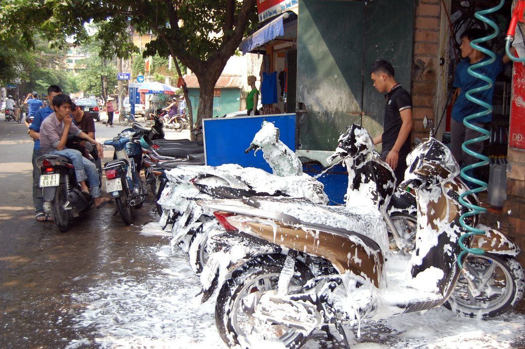 Motor scooter wash in Hanoi