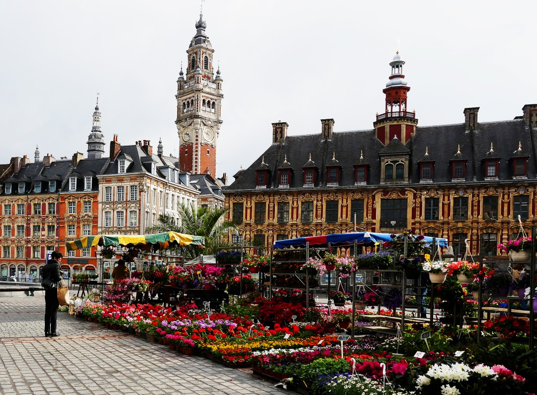 Flower market in the Main Square in Lille in France