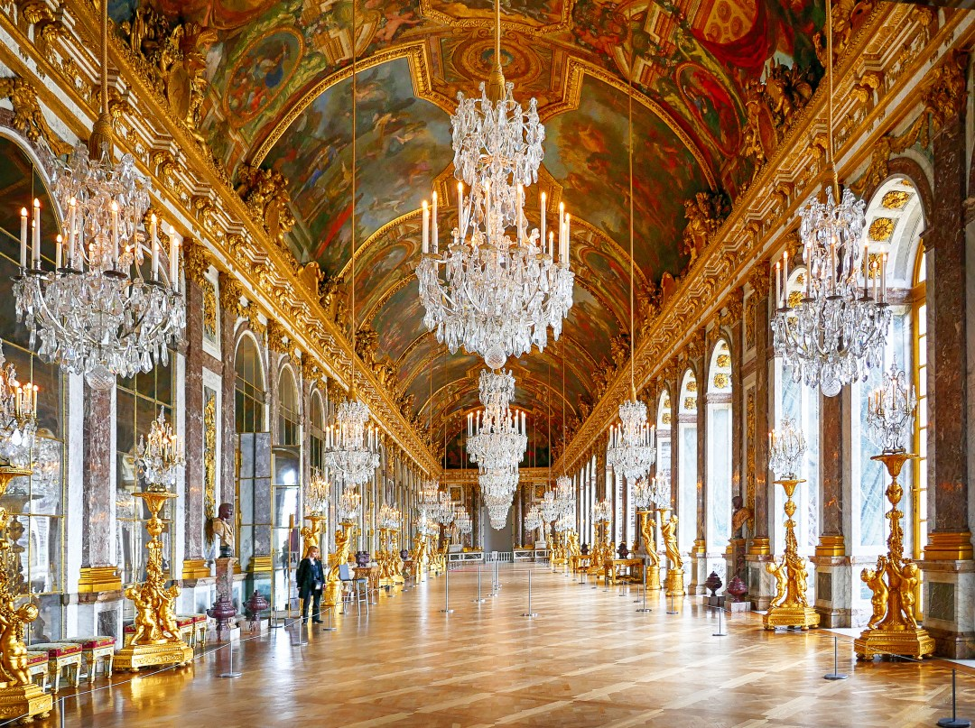 Hall of mirrors in the Palace of Versaille at closing for boomervoice