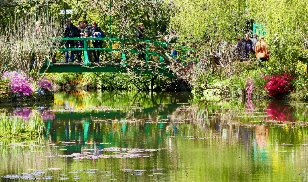 Japanese bridge in Monet's water lily garden in Giverny