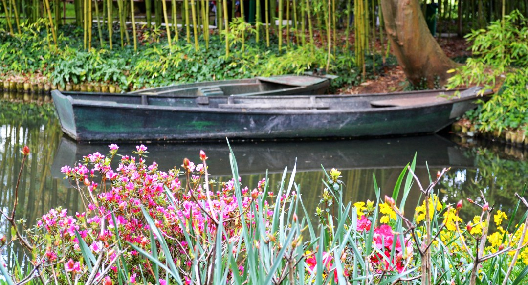 Boats in Monet's water lily garden in Giverny