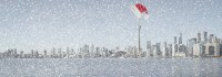 Toronto skyline in the snow at Christmas