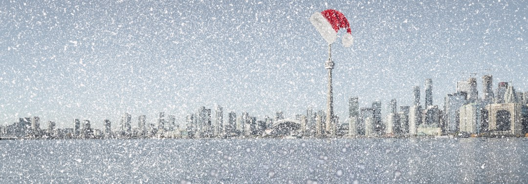 Toronto Skyline in the the snow at Christmas