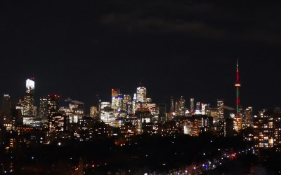 View of CN Tower and Toronto skyline from Casa Loma