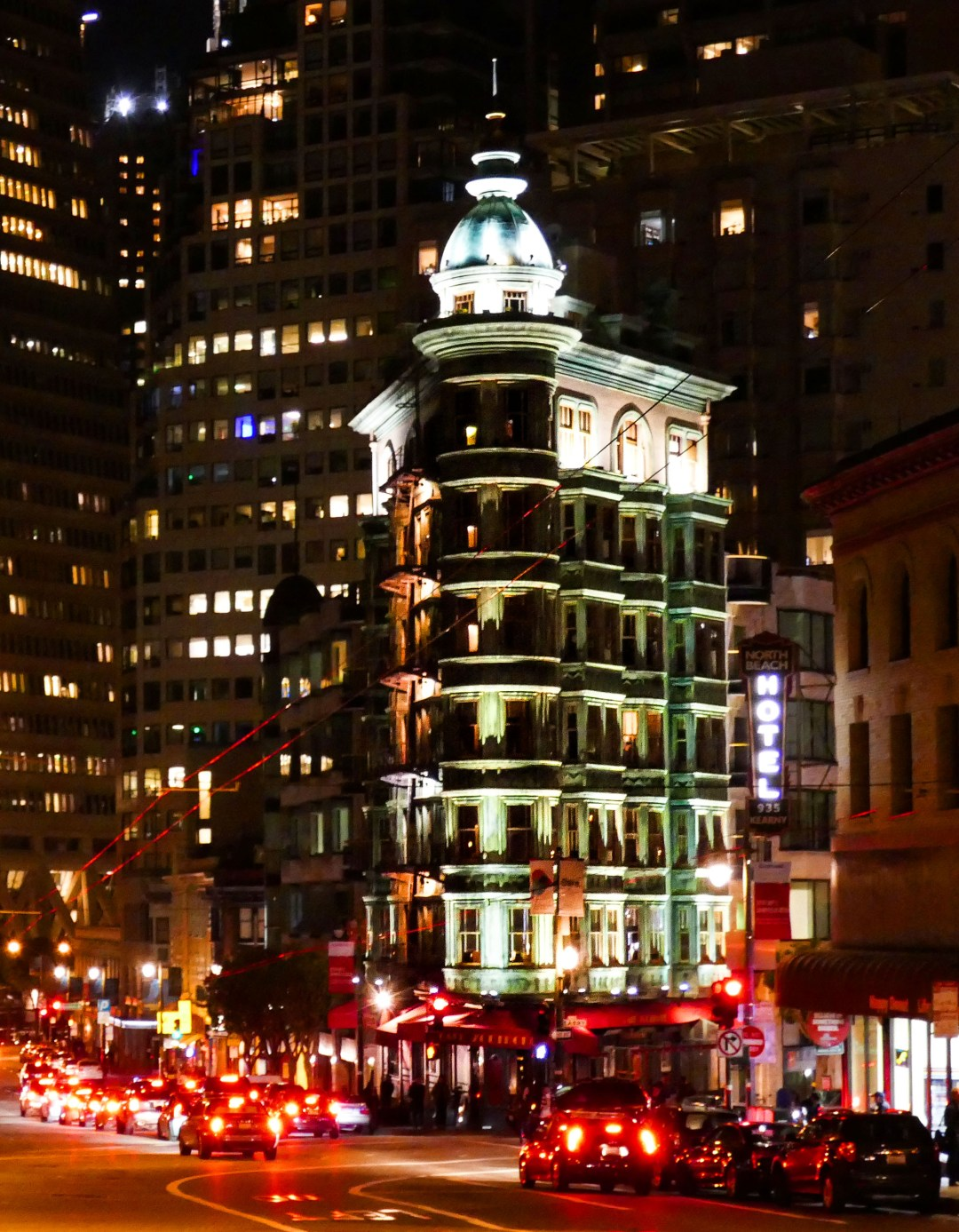 Sentinel Building at night in San Francisco for boomervoice