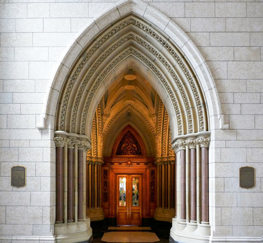 Entrance to Parliamentary Library for boomervoice