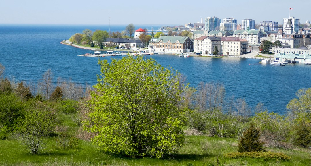 View of Kingston, Lake Ontario and the start of the Rideau Canal