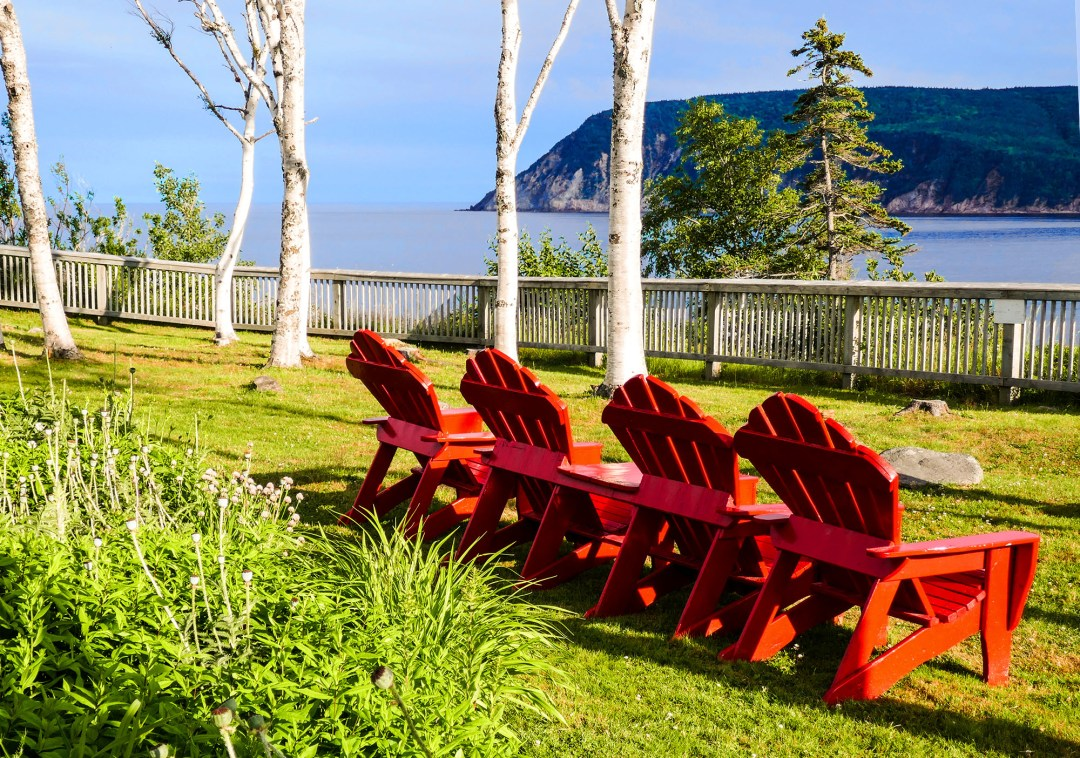 Red chairs at Keltic Lodge for boomervoice