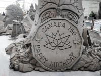 Happy Birthday Canada sand sculpture at CNE for bomervoice