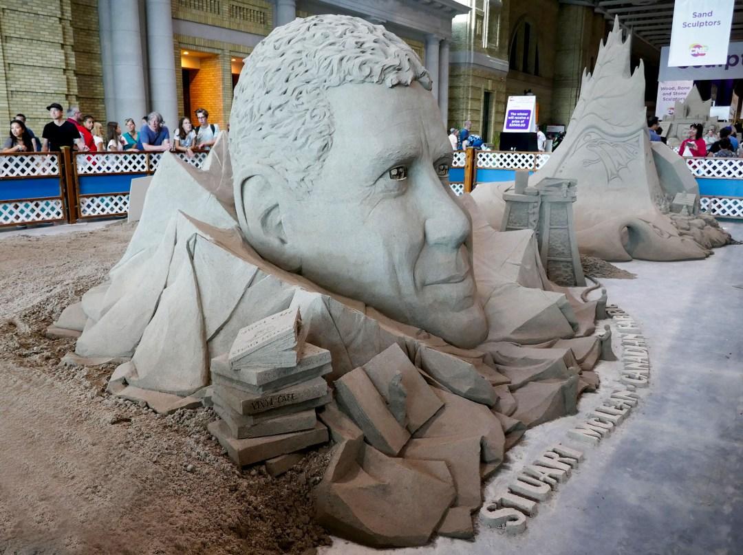 Vinyl cafe sand sculpture at CNE for bomervoice