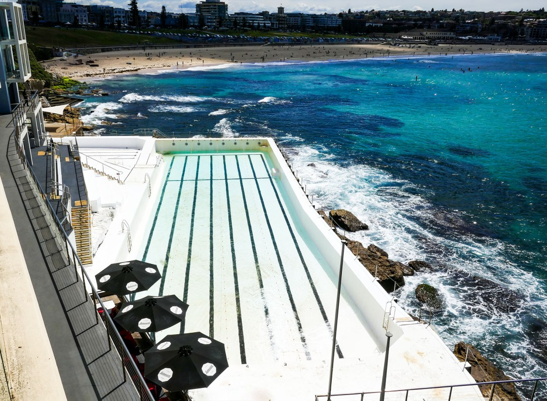 Bondi pool at Bondi Icebergs Club on Coogee to Bondi walk for boomervoice