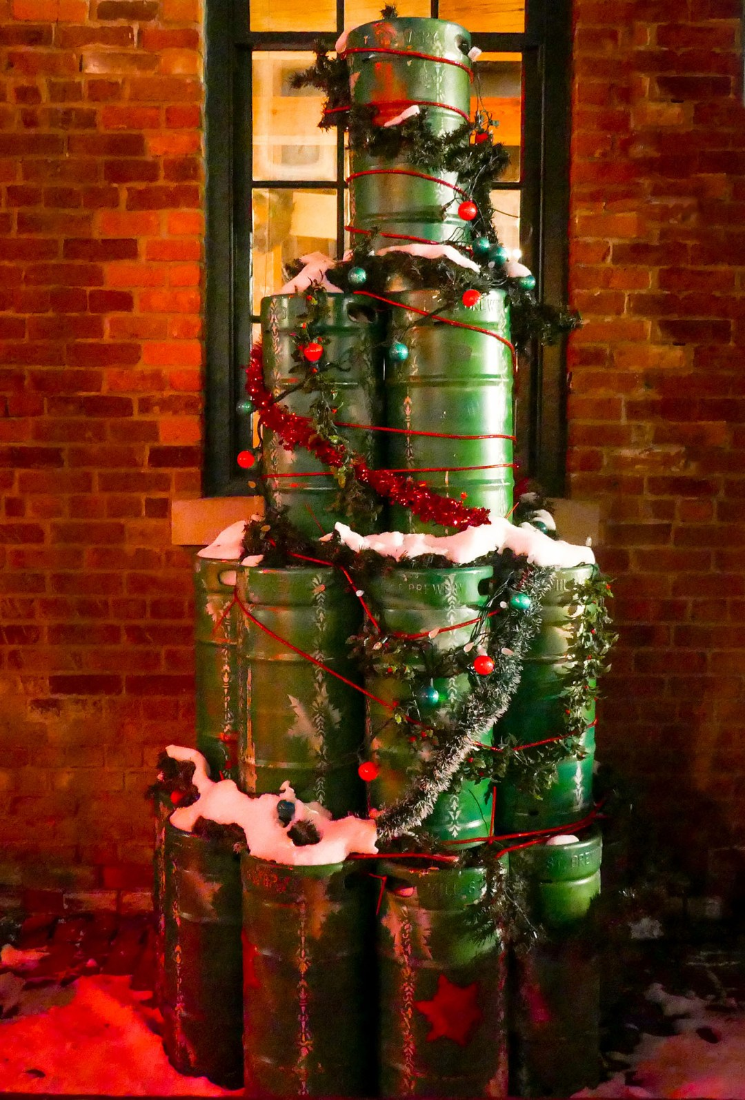 Kegs dressed for Christmas at the Toronto Christmas Market for boomervoice